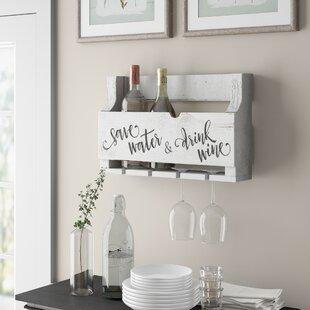 Mccandless Save Water 4 Bottle Wall Mounted Wine Rack