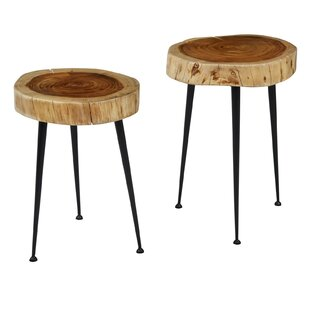 Sely Wooden Round 2 Piece End Table Set by Union Rustic
