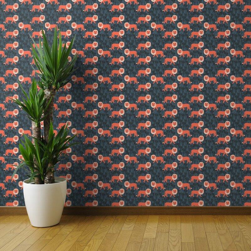 Almute+Orange+Lions+Removable+Wallpaper
