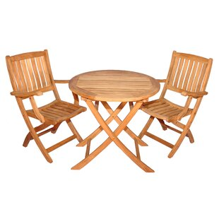 Highland Dunes Bullock 3 Piece Teak Dining Set
