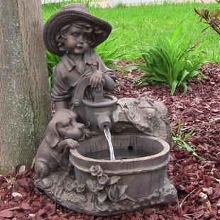 Jenks Resin Solar Boy With Dog On Demand Water Fountain Led Light