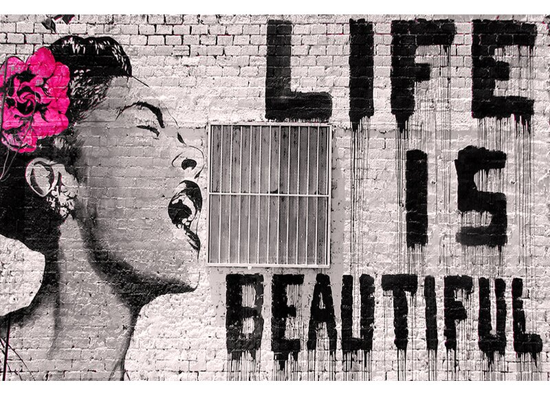 BANKSY GRAFFITI LIFE IS BEAUTIFUL PRINT ON WOOD FRAMED CANVAS WALL ART Decor