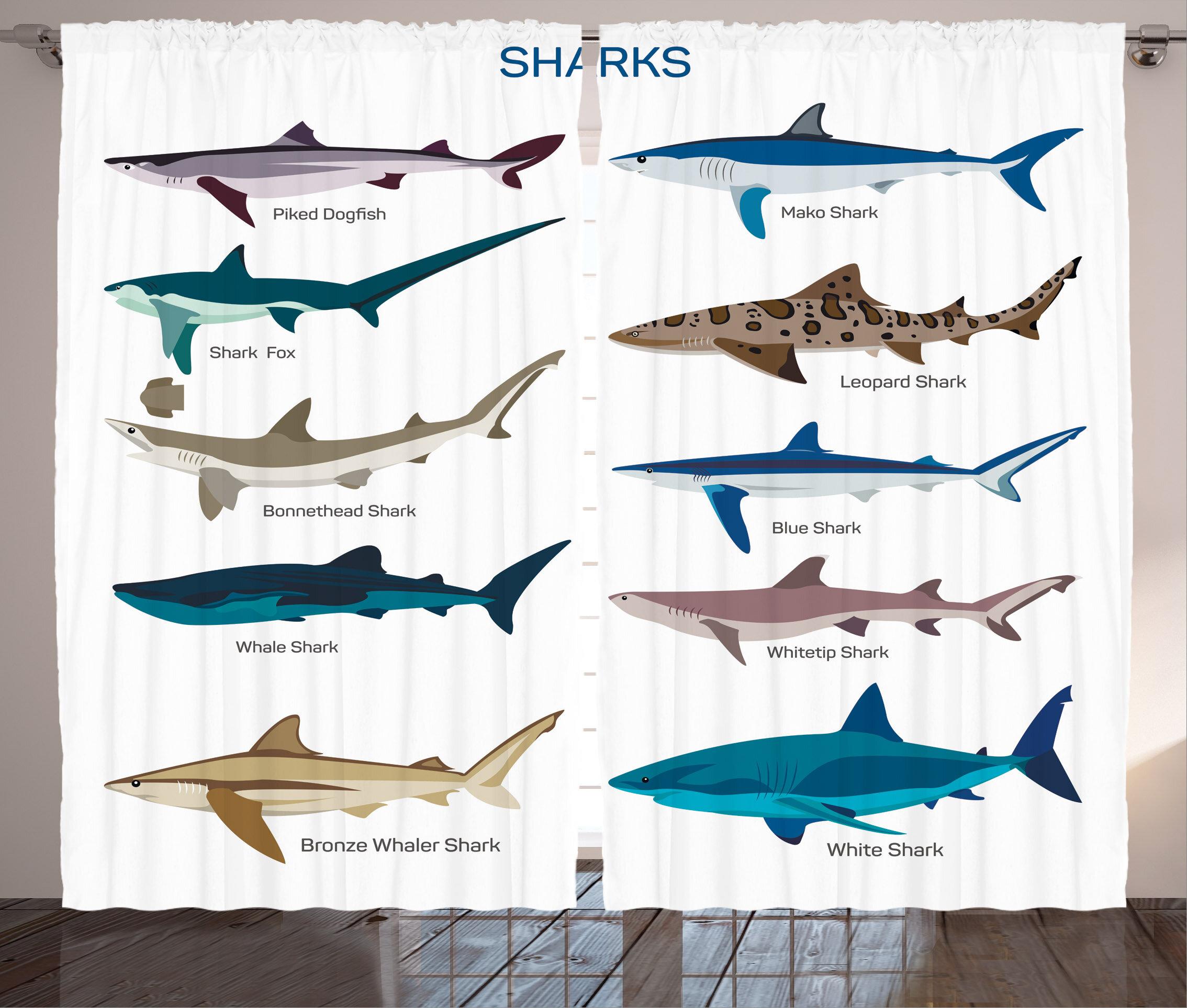 Fish Decor Nautical Room Darkening Rod Pocket Curtain Panels