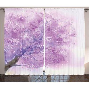 Oliva Watercolor Graphic Print and Text Semi-Sheer Rod Pocket Curtain Panels (Set of 2) by Latitude Run