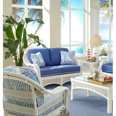 Regatta'' Loveseat Spice Islands Wicker Upholstery: Glamour Indigo