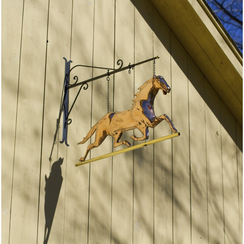 Loon Peak Romano Hanging Horse Pure Copper Weathervane Sign Wall ...