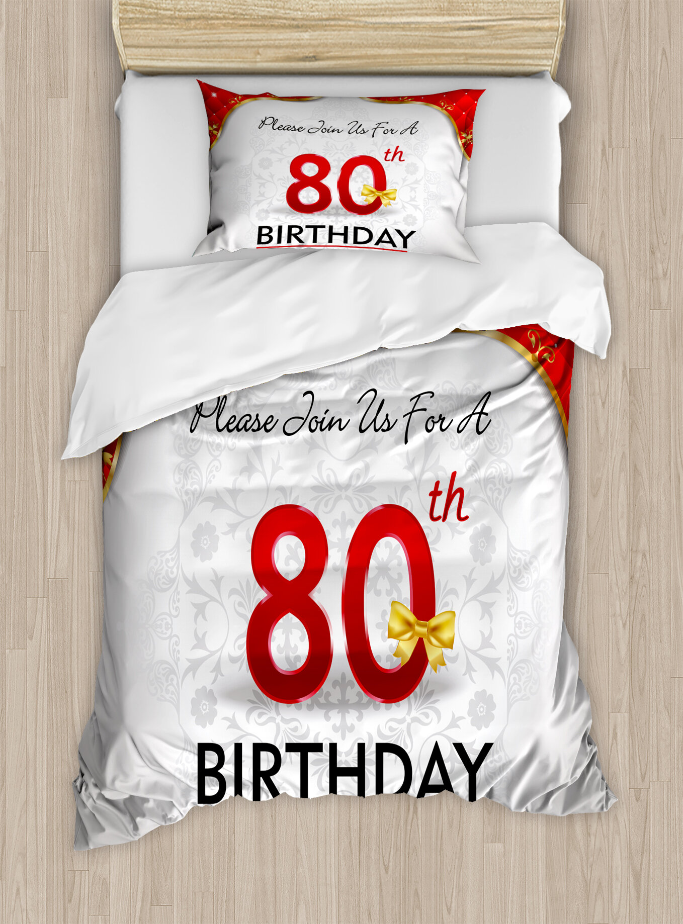 80th Birthday Decorations Party Invitation With Abstract Flora Backdrop Duvet Cover Set