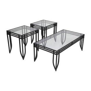 Zackary 3 Piece Coffee Table Set (Set of 3) Ebern Designs