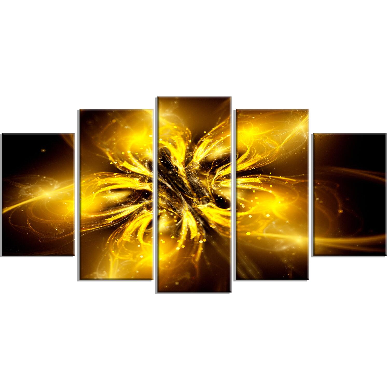 Designart Shiny Gold Fractal Flower On Black 5 Piece Graphic Art On Wrapped Canvas Set Wayfair