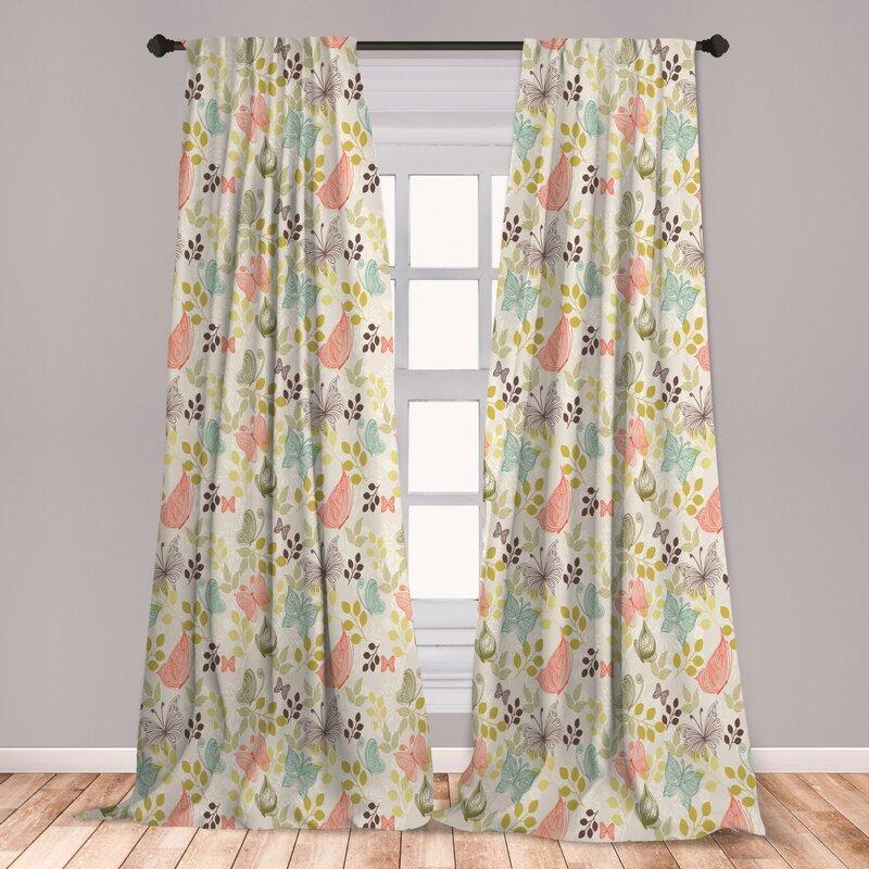 East Urban Home Butterfly Floral Room Darkening Rod Pocket Curtain Panels Wayfair