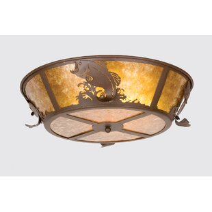 Meyda Tiffany Leaping Bass 4-Light Flush Mount