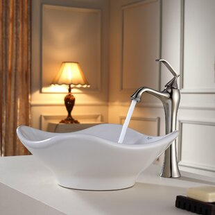 Kraus Bathroom Combos Ceramic Specialty Vessel Bathroom Sink with Faucet
