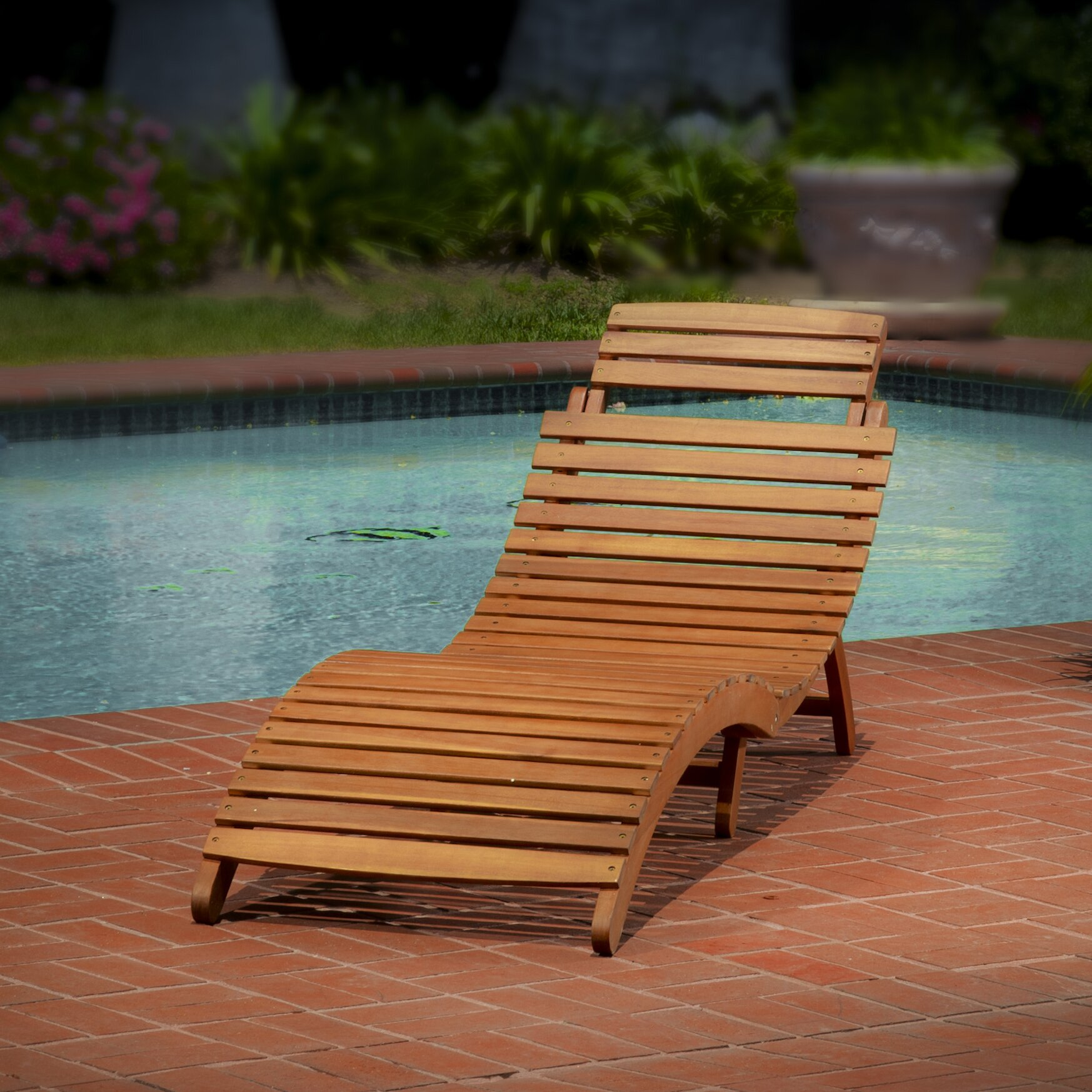 Bay Isle Home Philodendron Wood Outdoor Chaise Lounge