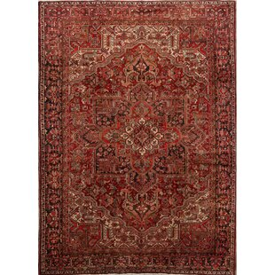 Compare One-of-a-Kind Kalish Geometric Heriz Persian Traditional Hand-Knotted 9'2 x 12'8 Wool Red/Ivory/Black Area Rug By Isabelline