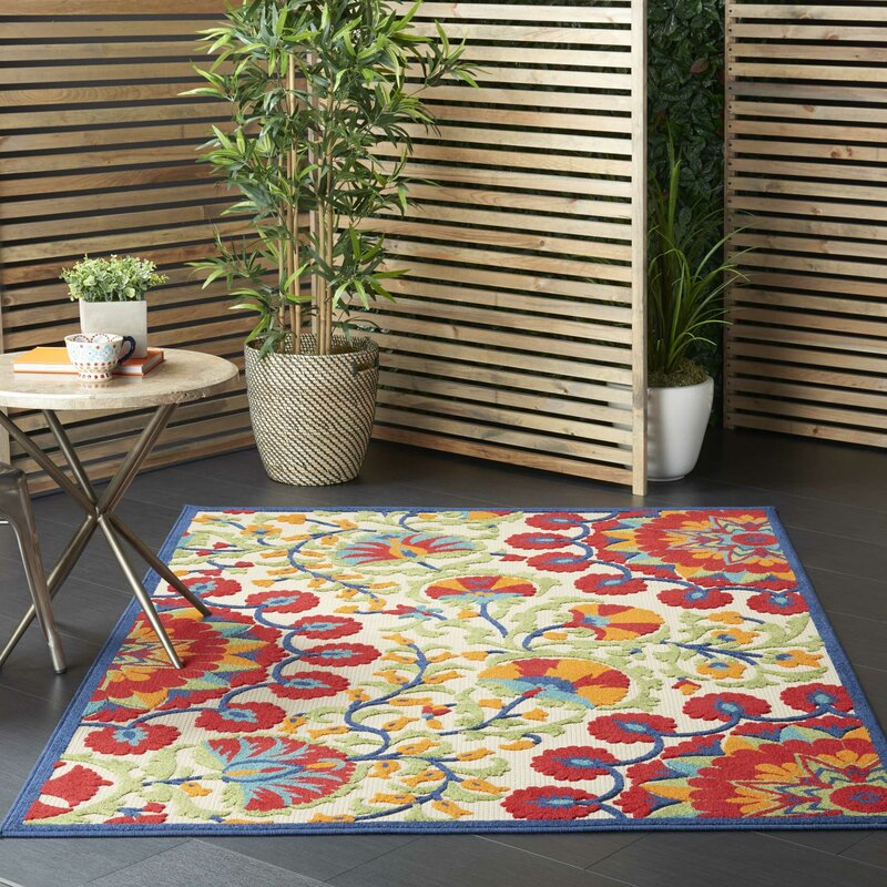 Sol 72 Outdoor Lahaina Floral Ivory Red Green Indoor Outdoor Area Rug Reviews Wayfair