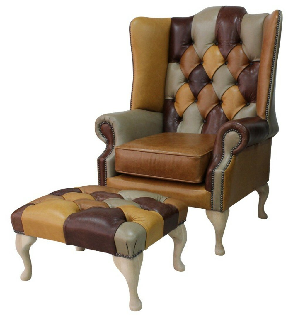 Winchester Leather Chesterfield Prince S Patchwork Old English Leather Wing Chair Footstool Wayfair Co Uk