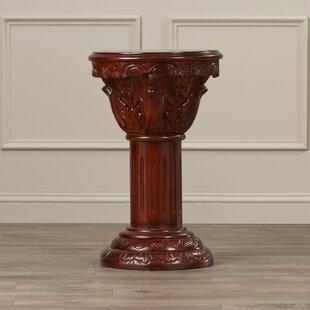 Astoria Grand Kellum Amandari Inlaid Pedestal Plant Stand
