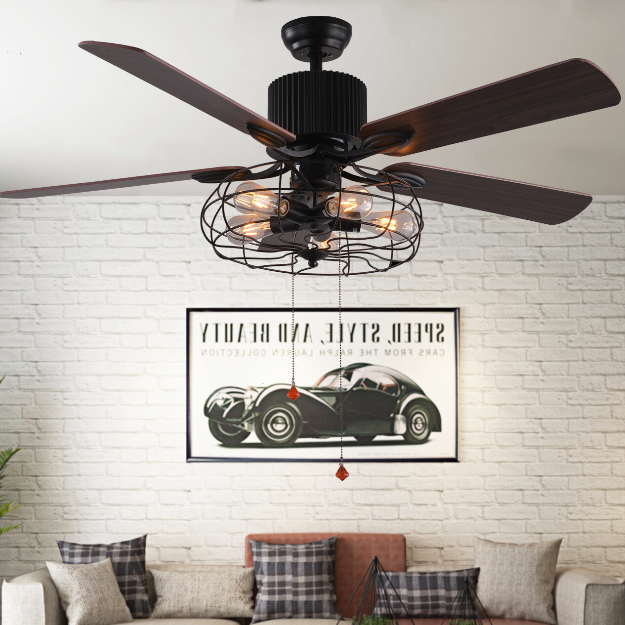 Williston Forge Borg 5 Blade Ceiling Fan With Pull Chain And Light Kit Included Reviews Wayfair