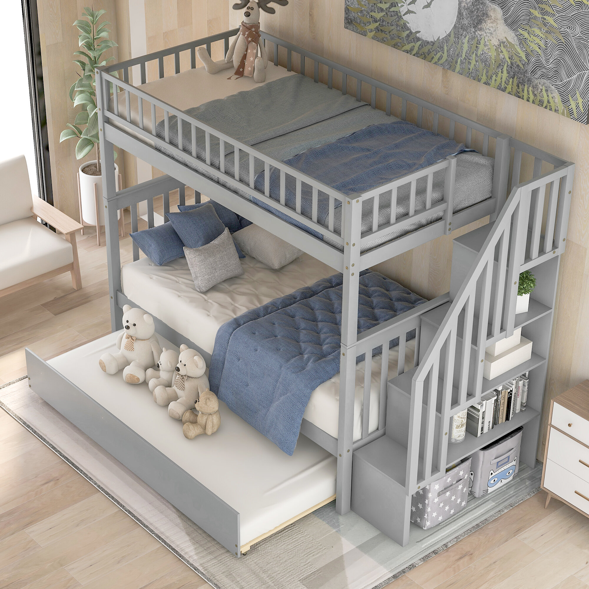 Picture of: Isabelle Max Polebridge Twin Over Twin Bunk Bed With Trundle Reviews