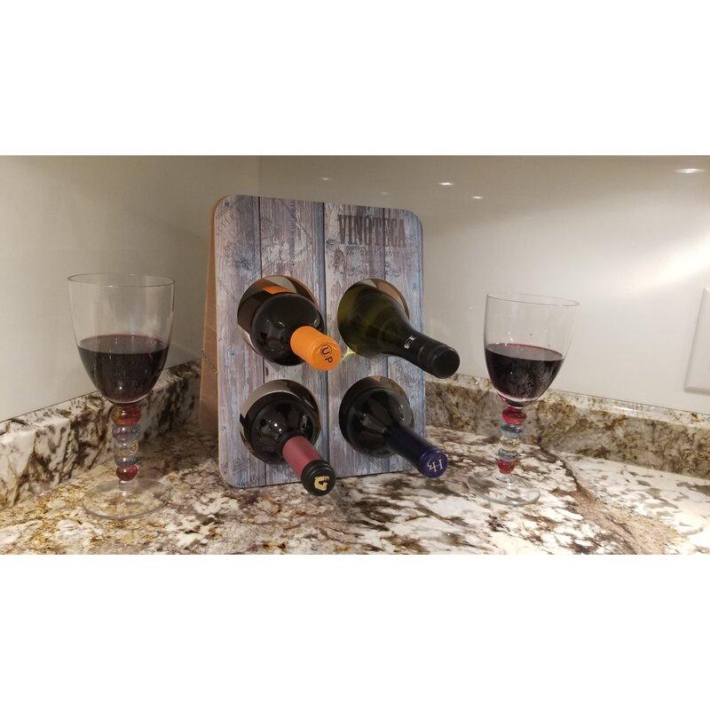 Vinoteca Vino Rack 4 Bottle Tabletop Wine Bottle Rack Wayfair