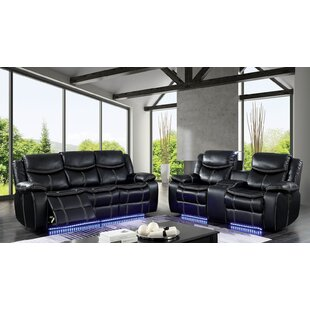 Helfer Contemporary Leather Power Wall Hugger Reclining Configurable Living Room Set