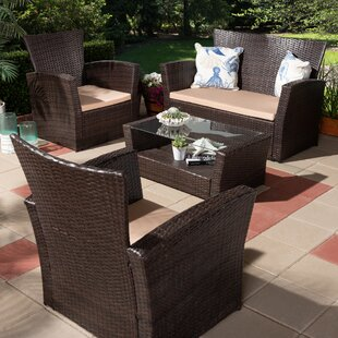 Malia 4 Piece Upholstered Rattan Sofa Seating Group with Cushions