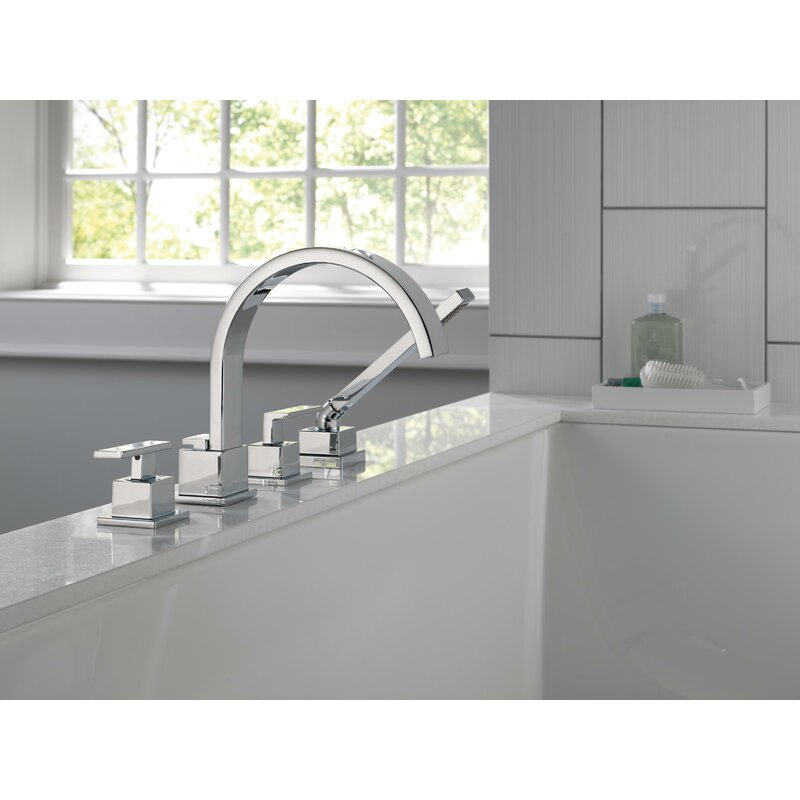 Delta Vero Double Handle Deck Mounted Roman Tub Faucet With Handshower Reviews Wayfair