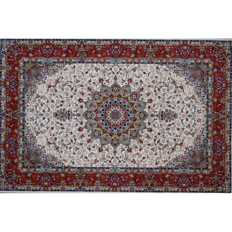 Astoria Grand Griffiths Hand Look Persian Wool Red Ivory Green Area Rug Wayfair