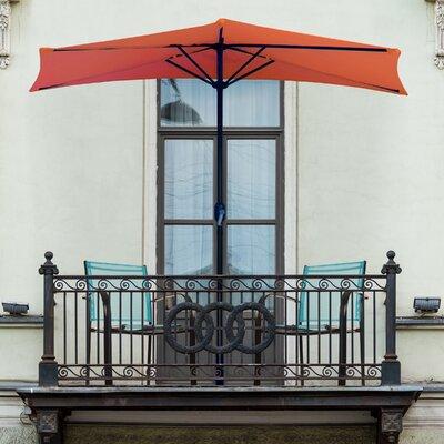 Half Round 9' Market Umbrella Fabric Color: Burnt Orange