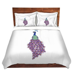 House of Hampton Wisdom Metka Hiti Peacock White Microfiber Duvet Covers