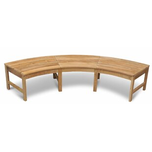 Jeffries Curved Backless Teak Picnic Bench by Bayou Breeze