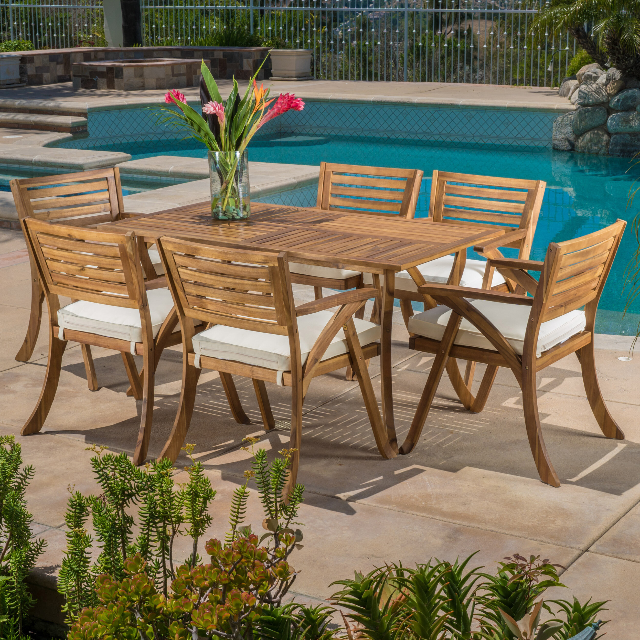 Beachcrest Home Coyne 7 Piece Teak Dining Set With Cushions Reviews Wayfair