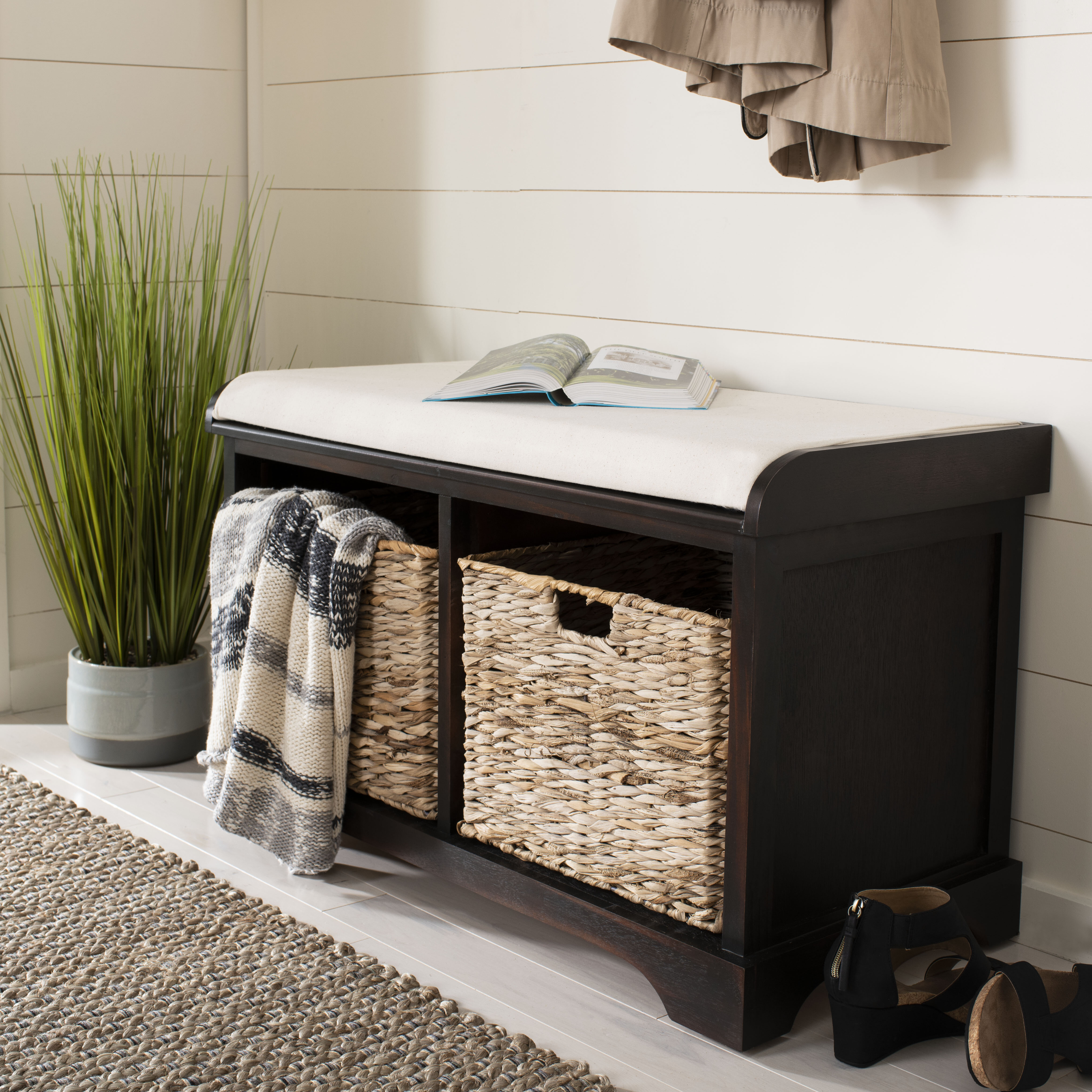 Trent Austin Design Santa Cruz Upholstered Cubby Storage Bench Reviews Wayfair