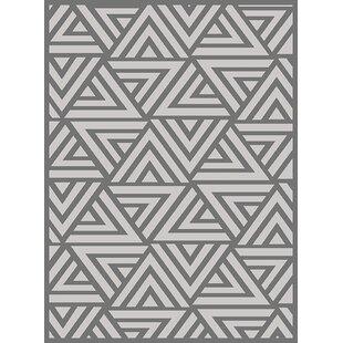 Best Price Hereford Trellis Wavy Lines Charcoal/Gray/Silver Area Rug By Wrought Studio