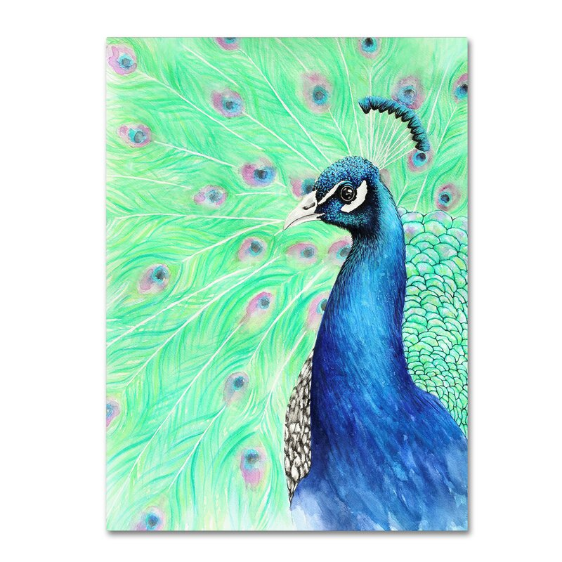 Winston Porter Mr Peacock Graphic Art Print On Wrapped Canvas Wayfair