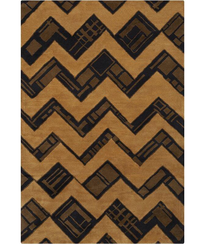 Latitude Run Millwood Hand Tufted Wool Brown Yellow Area Rug Wayfair