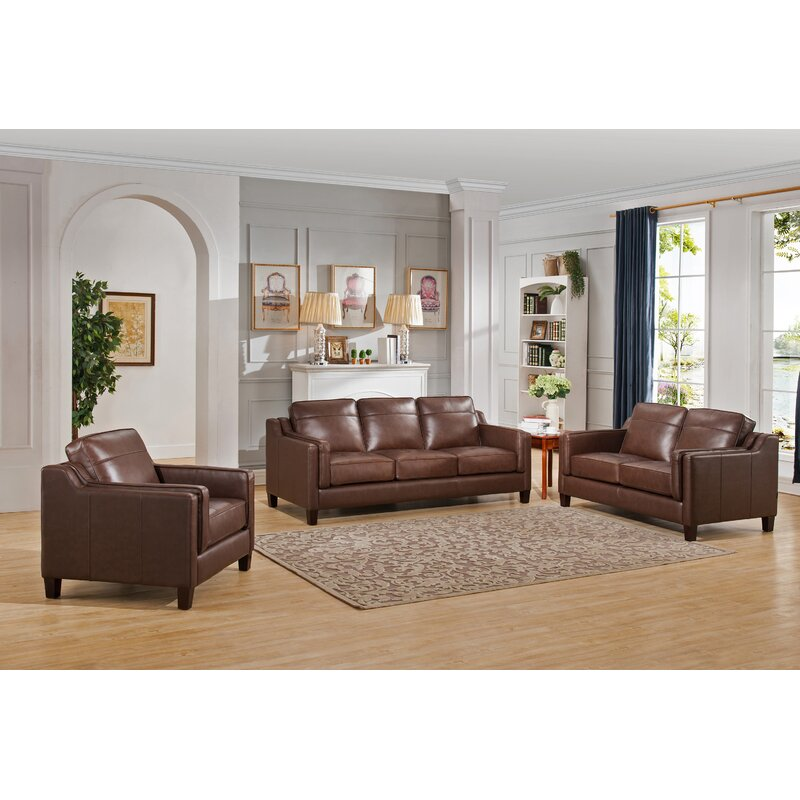 Red Barrel Studio Katherine 3 Piece Leather Living Room Set | Wayfair