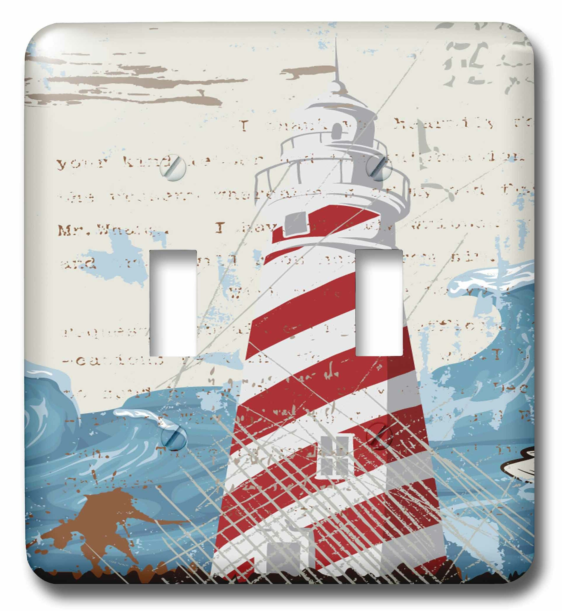 3drose Lighthouse With A Sea Wave 2 Gang Toggle Light Switch Wall Plate Wayfair