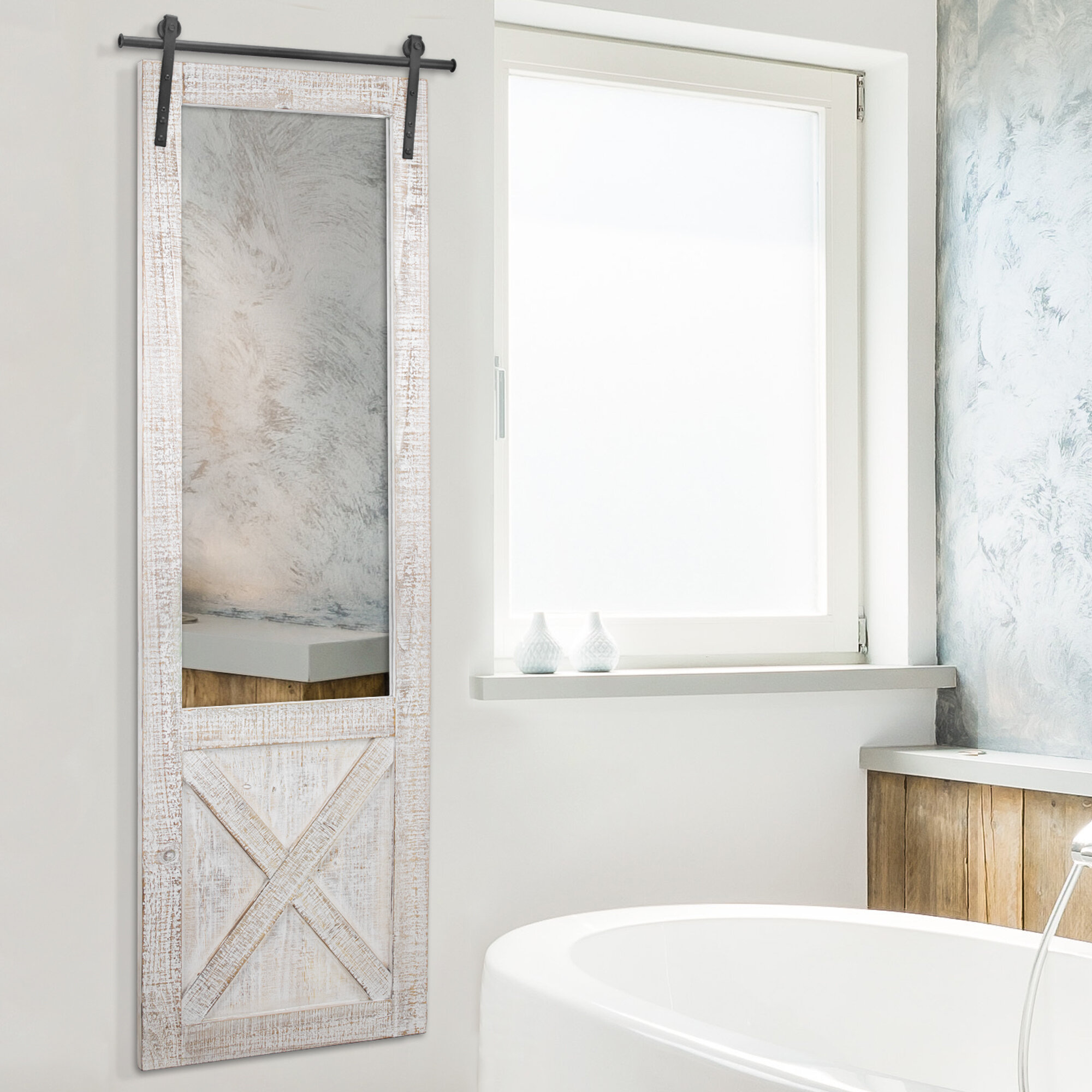 Gracie Oaks Compson Hanging Barn Door Full Length Mirror Reviews Wayfair