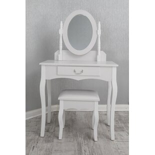 Roemer PU Dressing Table Set With Mirror By Lily Manor