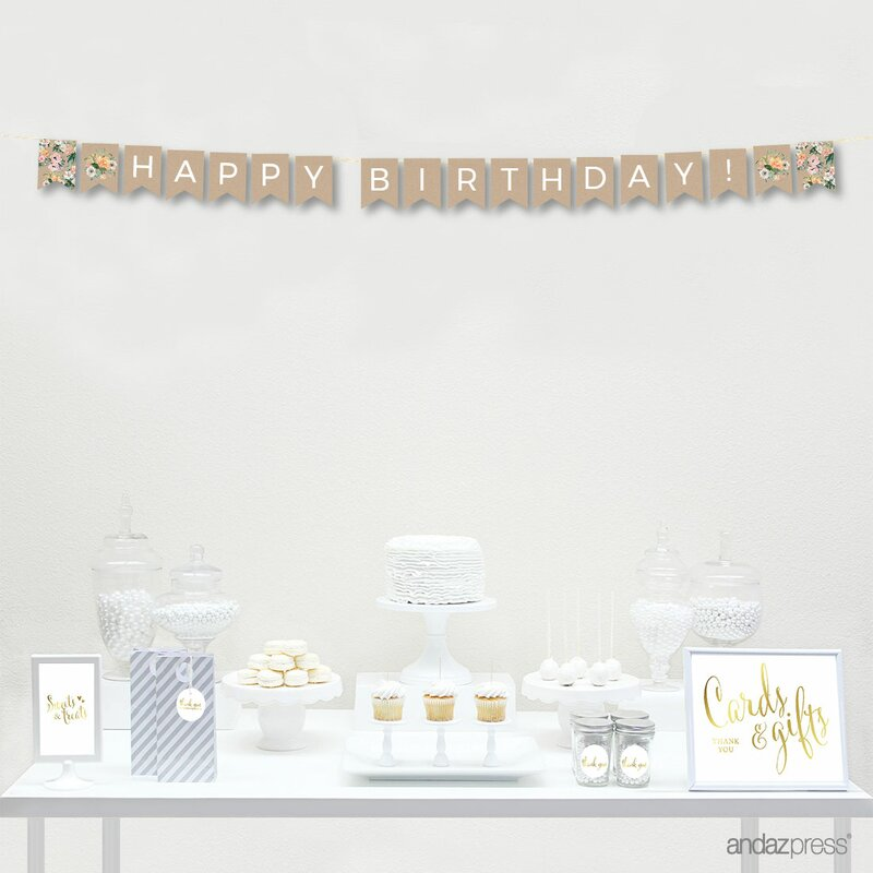 Happy Birthday Peach Kraft Brown Rustic Floral Hanging Pennant Banner With String