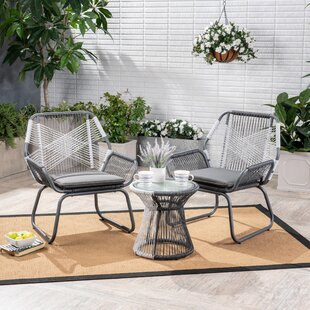 Wrought Studio Fidel Outdoor 3 Piece Rattan 2 Person Seating Group with Cushions