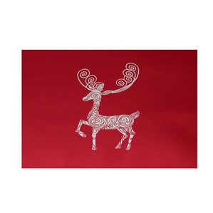 Deer Crossing Decorative Holiday Print Red Indoor Outdoor Area RugHoliday Animal