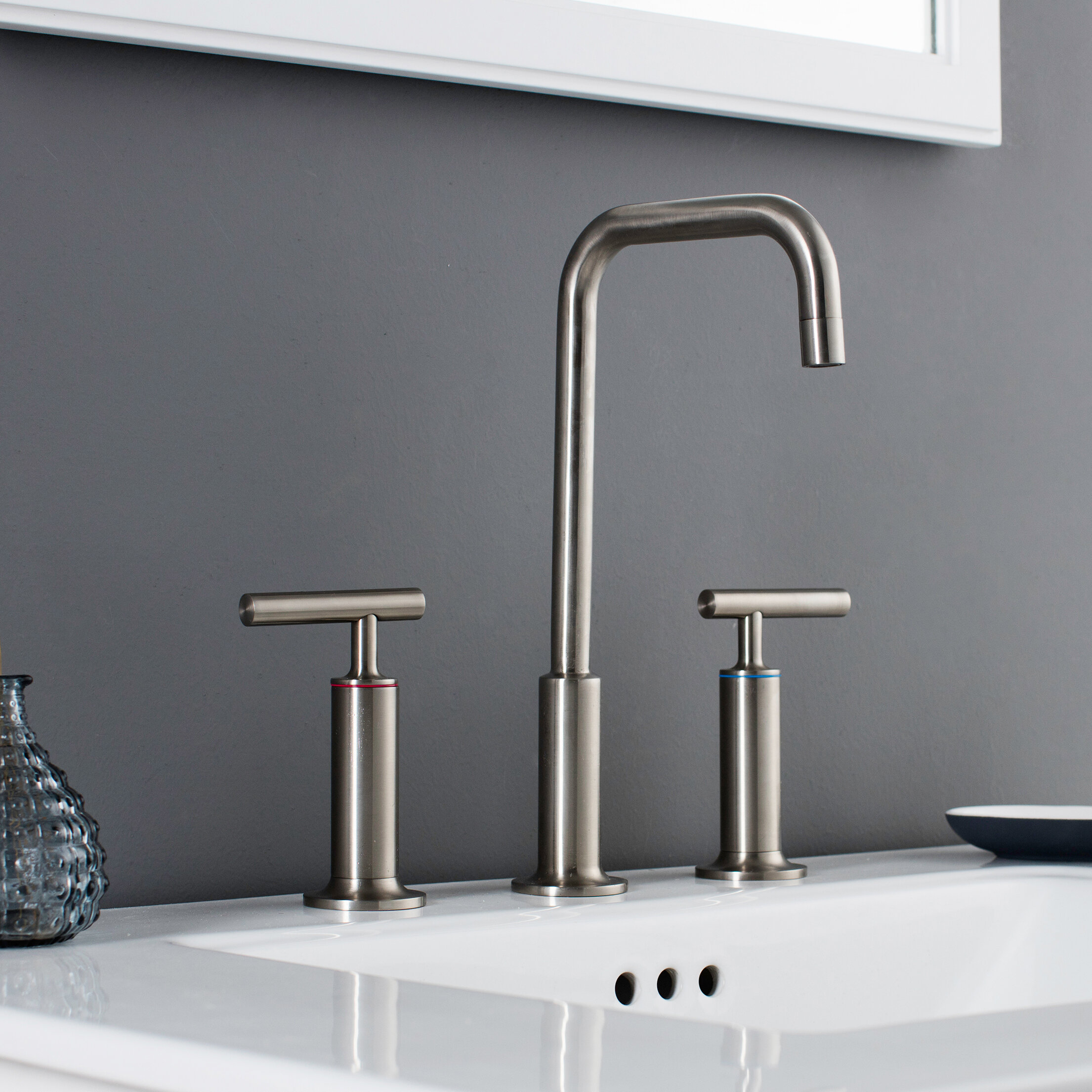 Maykke Prelude Piece Widespread Wrist Blade Handle Bathroom Faucet - Three piece bathroom faucet