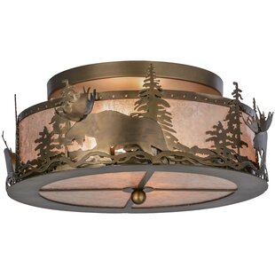 Meyda Tiffany Moose at Dusk 2-Light Semi Flush Mount