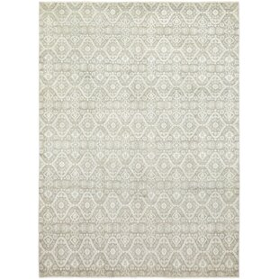 Reviews One-of-a-Kind Dewey Hand-Knotted Wool Beige/White Indoor Area Rug By Isabelline