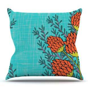 Flowers By Nandita Singh Outdoor Throw Pillow by East Urban Home