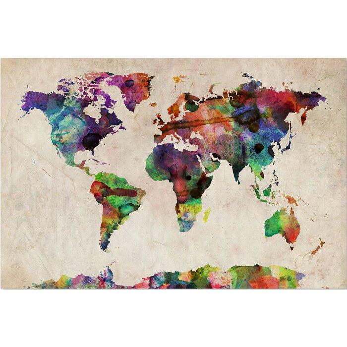 Mistana multicoloured world map framed on beige canvas reviews multicoloured world map framed on beige canvas gumiabroncs Images