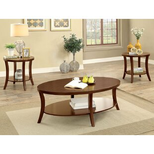Naoma Transitional 3 Piece Coffee Table Set