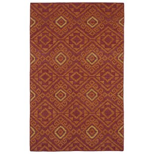 Marble Falls Red Geometric Area Rug by Wrought Studio